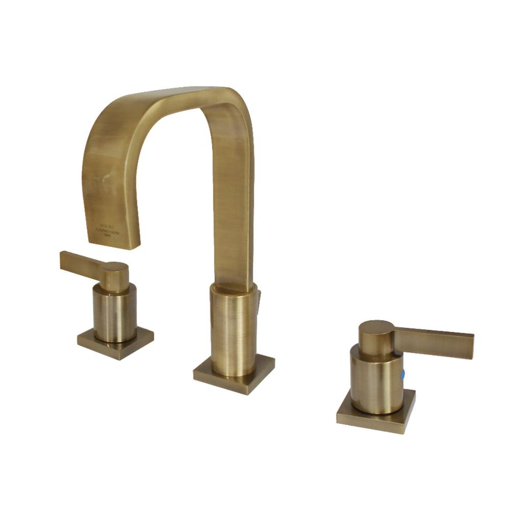 NuvoFushion 8 in. Widespread 2-Handle High-Arc Bathroom Faucet in Vintage Brass