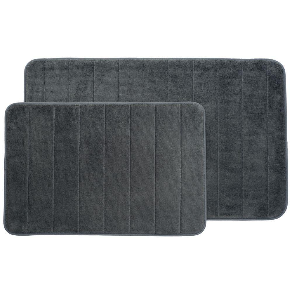 Silver 20.25 in. x 32.25 in. Memory Foam 2-Piece Bath Mat Set