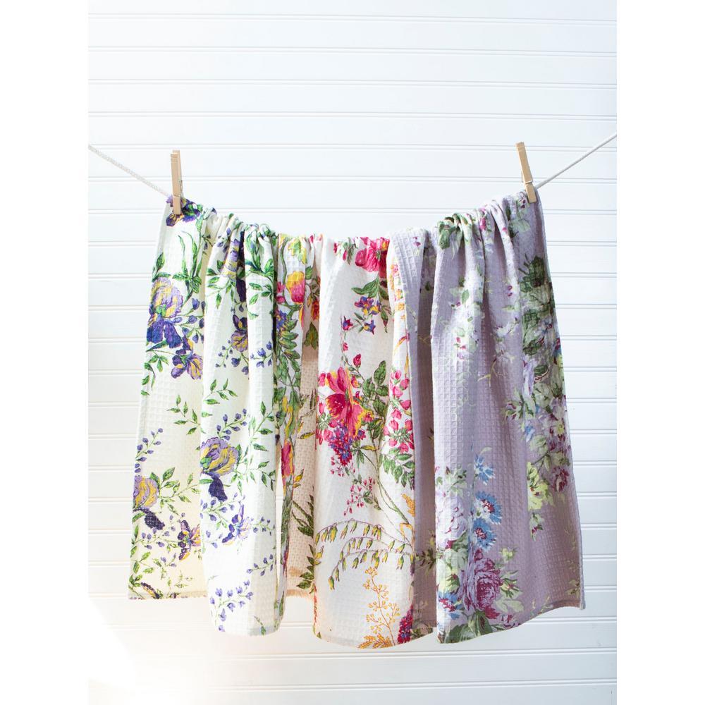 Purple and Purple Hue Floral Design Kitchen Tea Towels Set of 3
