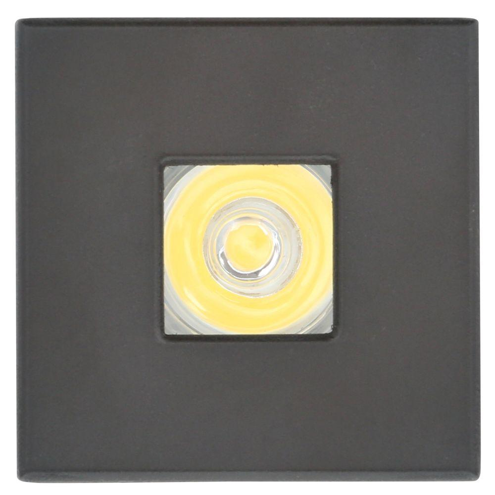 Armacost Lighting Mini Bright White Integrated LED Recessed Puck Light with Square Black Polycarbonate Trim Ring