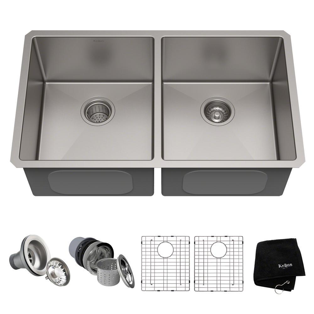 KRAUS Standart PRO 33in. 16 Gauge Undermount 50/50 Double Bowl Stainless  Steel Kitchen Sink