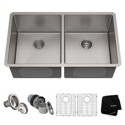 Standart PRO 33in. 16 Gauge Undermount 50/50 Double Bowl Stainless Steel Kitchen Sink