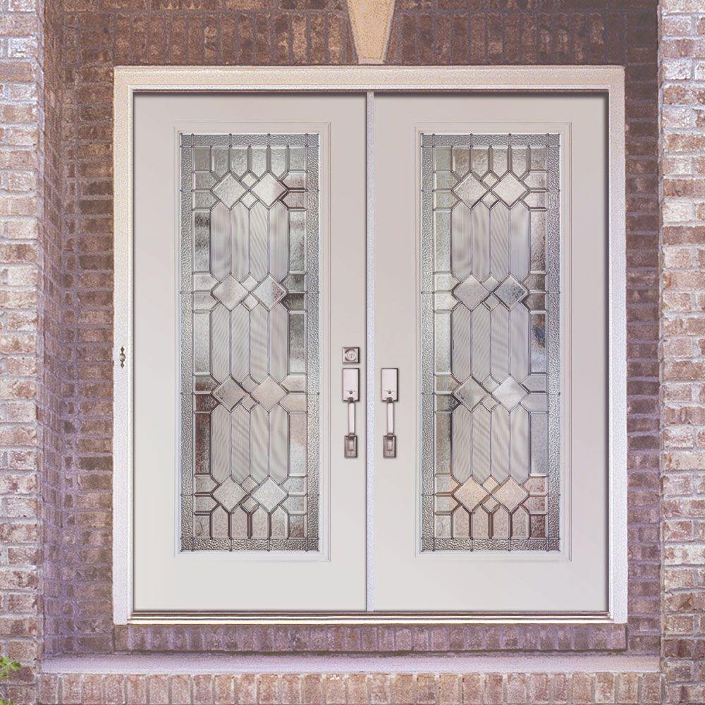 Feather River Doors 74 In X 81625 In Mission Pointe Zinc Full Lite Unfinished Smooth Right Hand Fiberglass Double Prehung Front Door