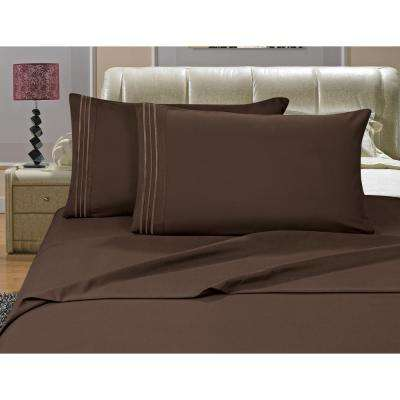 1500 Series 4-Piece Chocolate Brown Triple Marrow Embroidered Pillowcases Microfiber Split King Size Bed Sheet Set
