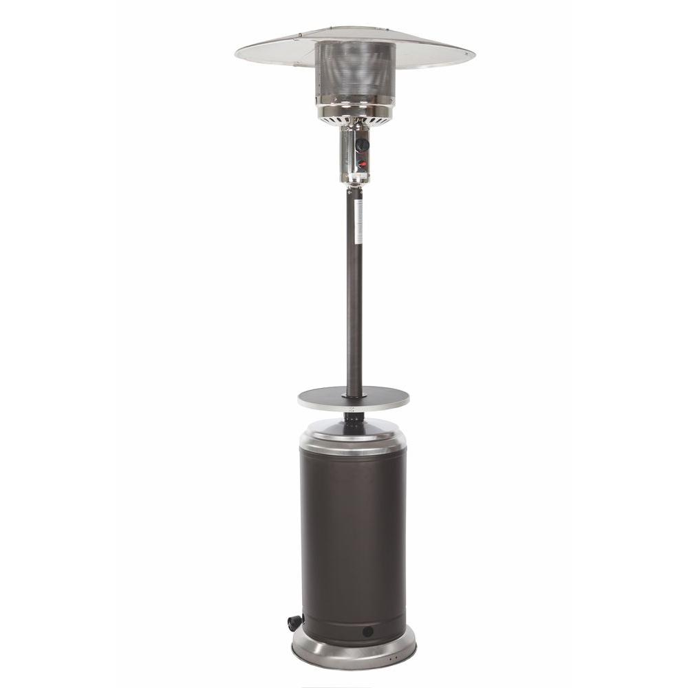 Fire Sense Standard Series 44,000 BTU Mocha and Stainless Steel Gas Patio Heater with Table