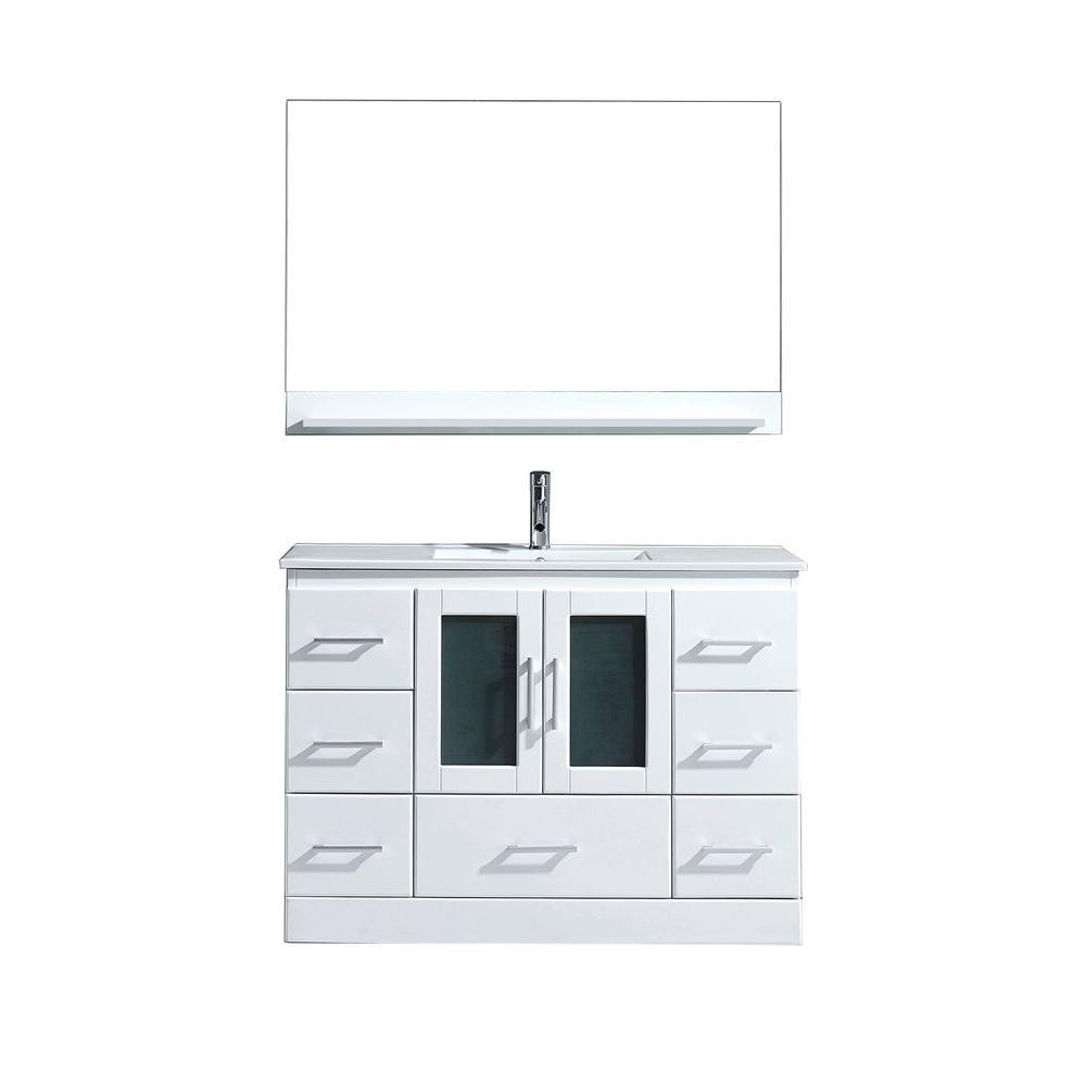 Virtu USA Zola 47.7 in. W x 18 in. D Vanity in White with Ceramic Vanity Top in White with White Basin and Mirror