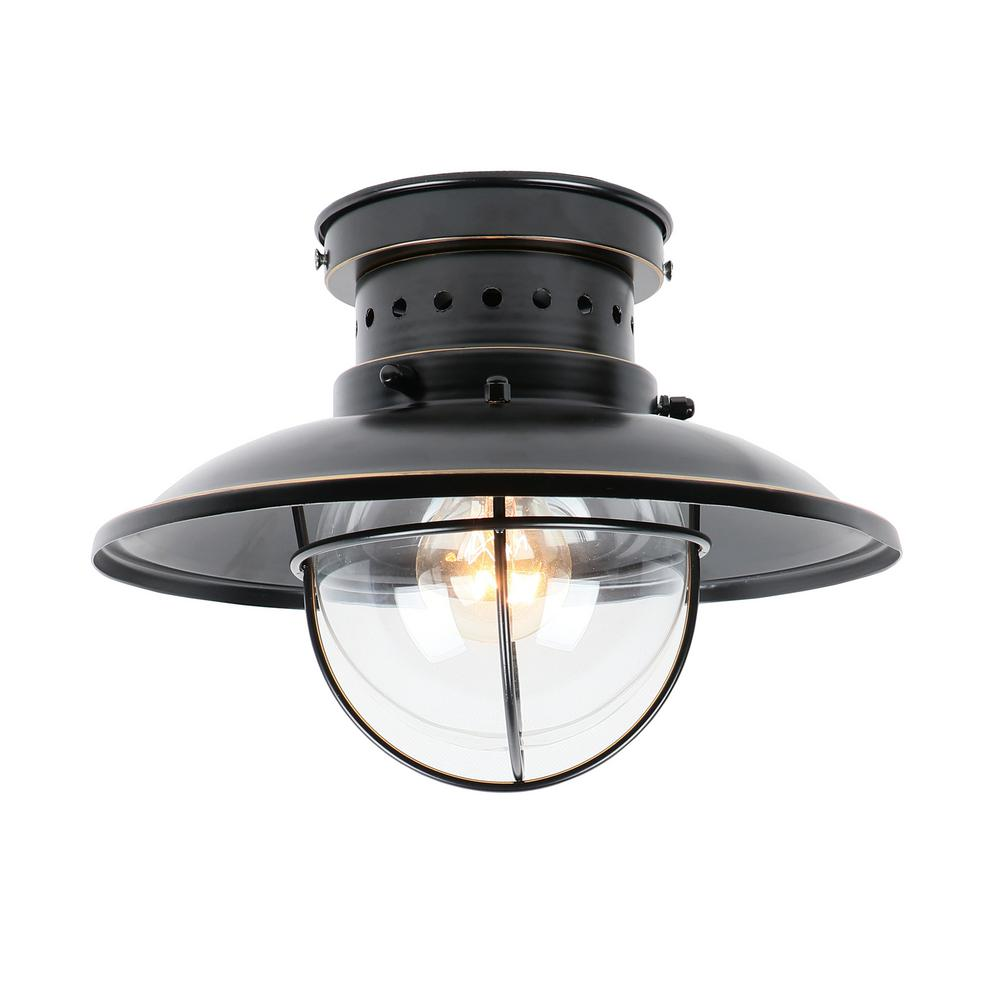 Y decor small 1 light imperial black outdoor ceiling light flush mount
