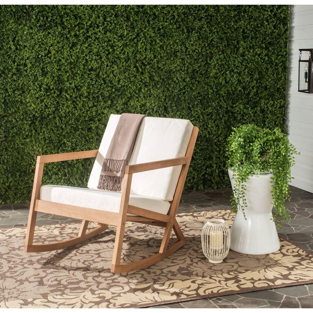 Wonderful Safavieh Vernon Teak Brown Outdoor Patio Rocking Chair With Beige Cushion