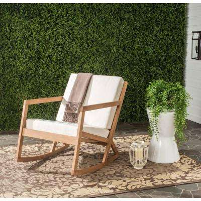 Vernon Teak Brown Outdoor Patio Rocking Chair with Beige Cushion