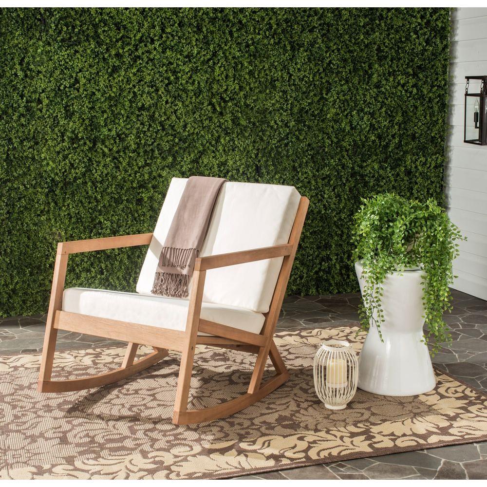 Vernon Teak Brown Wood Outdoor Rocking Chair with Beige Cushions