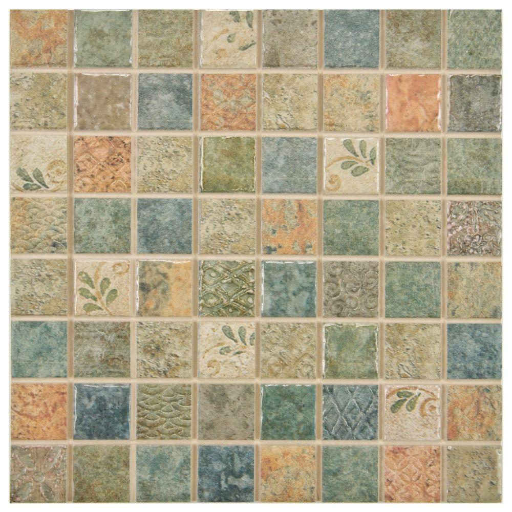 Merola Tile Mosaico Lumine Decor 7-13/16 in. x 7-13/16 in. Ceramic Wall Tile