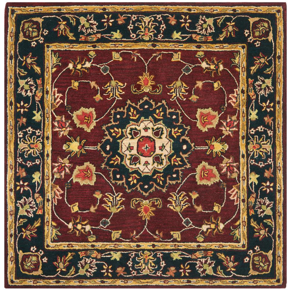 safavieh classic burgundy navy 6 ft x 6 ft square area rug cl362a 6sq the home depot. Black Bedroom Furniture Sets. Home Design Ideas