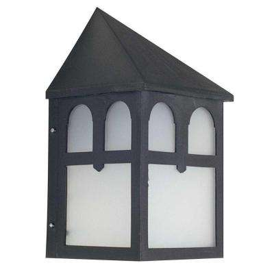 1-Light Black Outdoor Lantern with Frosted Panels