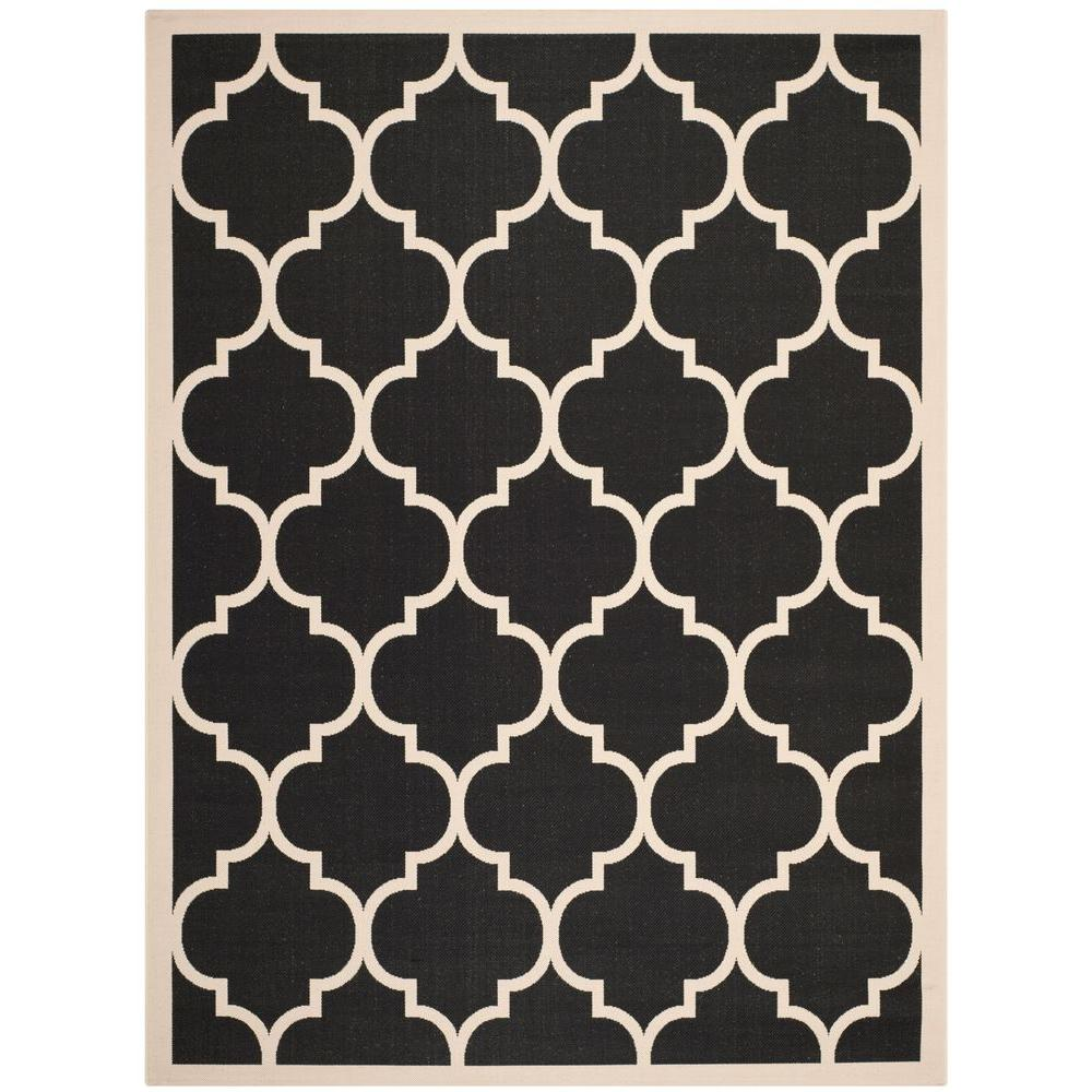 Courtyard Black/Beige 8 ft. x 11 ft. Indoor/Outdoor Area Rug