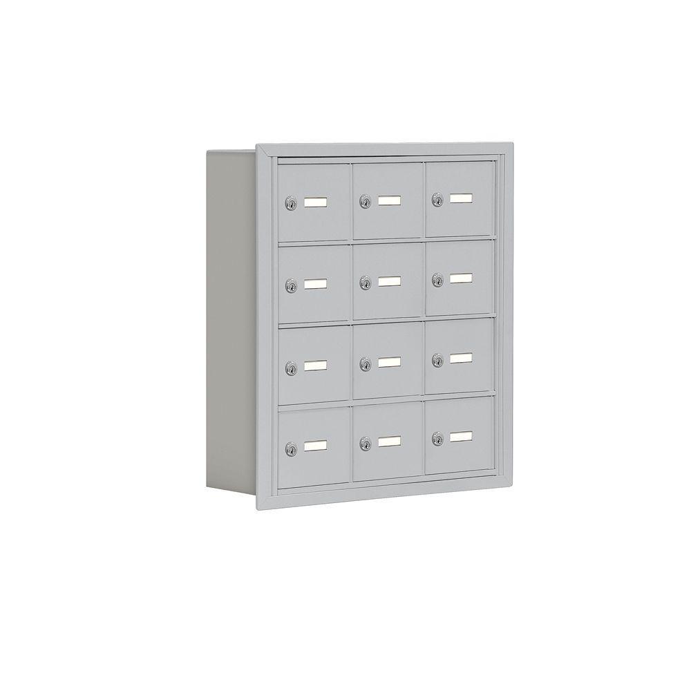 19000 Series 24 in. W x 25.5 in. H x 5.75 in. D 12 A Doors R-Mount Keyed Locks Cell Phone Locker in Aluminum