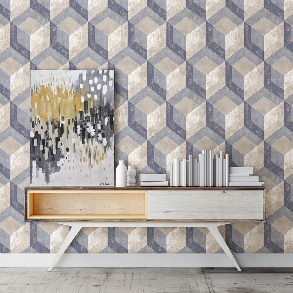 Brewster Blue Rustic Wood Tile Geometric Wallpaper