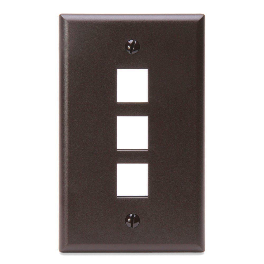 1-Gang QuickPort Standard Size 3-Port Wallplate, Brown