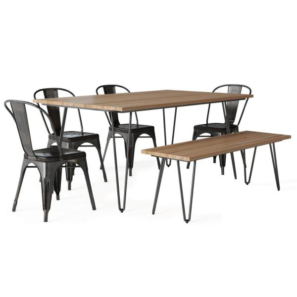 Keiran IV 6-Piece Solid Mango Wood and Metal 66 in. W Distressed Black and Copper 4-Dining Chairs Dining Set with Bench