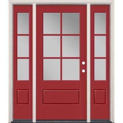64 in. x 80 in. Vista Grande Painted Left-Hand Inswing 3/4 Lite Clear Glass Fiberglass Prehung Front Door and Sidelites