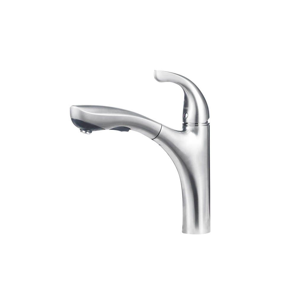 Hiland Single-Handle Pull-Out Sprayer Kitchen Faucet In Stainless Steel