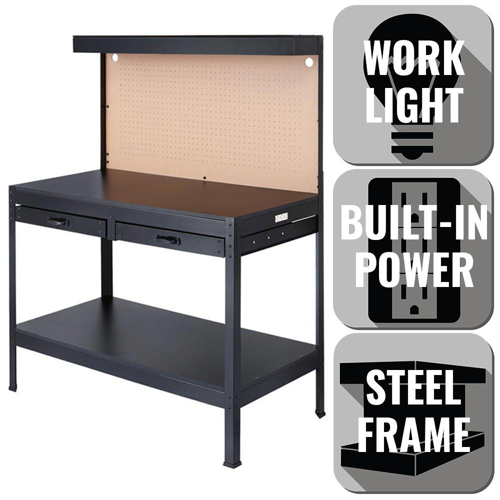 OLYMPIA 4 Ft. W X 5 Ft. H X 2 Ft. D Black Steel Workbench