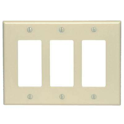 3-Gang Decora Midsize Wall Plate, Ivory