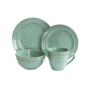 Click here to buy American Atelier 16-Piece Olivia Seafoam Dinnerware Set by American Atelier.