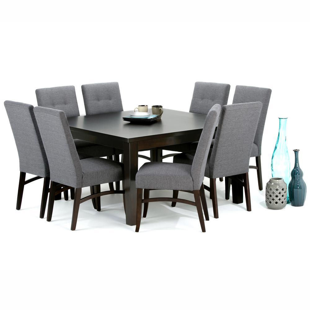Simpli Home Ezra 9 Piece Slate Grey Dining Set