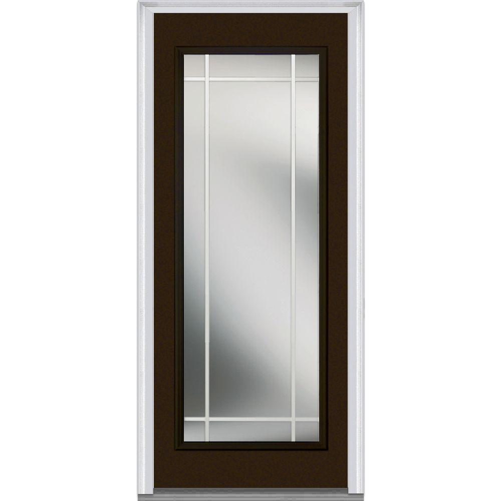 Mmi Door 30 In X 80 In Internal Grilles Right Hand Inswing Full Lite Clear Painted Fiberglass