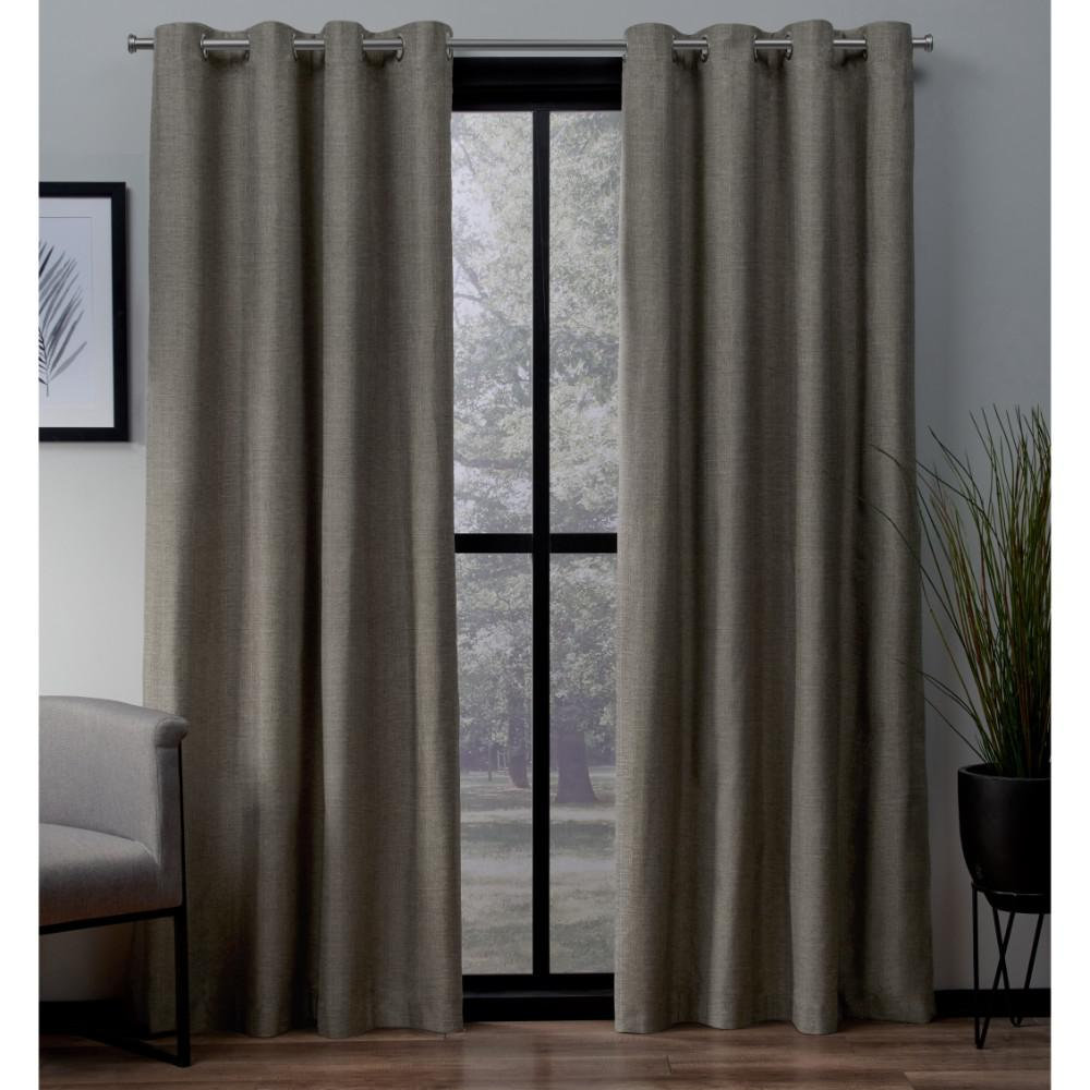 London 54 in. W x 96 in. L Woven Blackout Grommet Top Curtain Panel in Cafe (2 Panels)