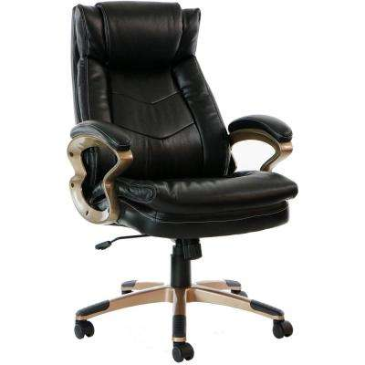 Atlas Black Executive Office Chair with Upholstered Faux-Leather Seat and Copper-Wheeled Base