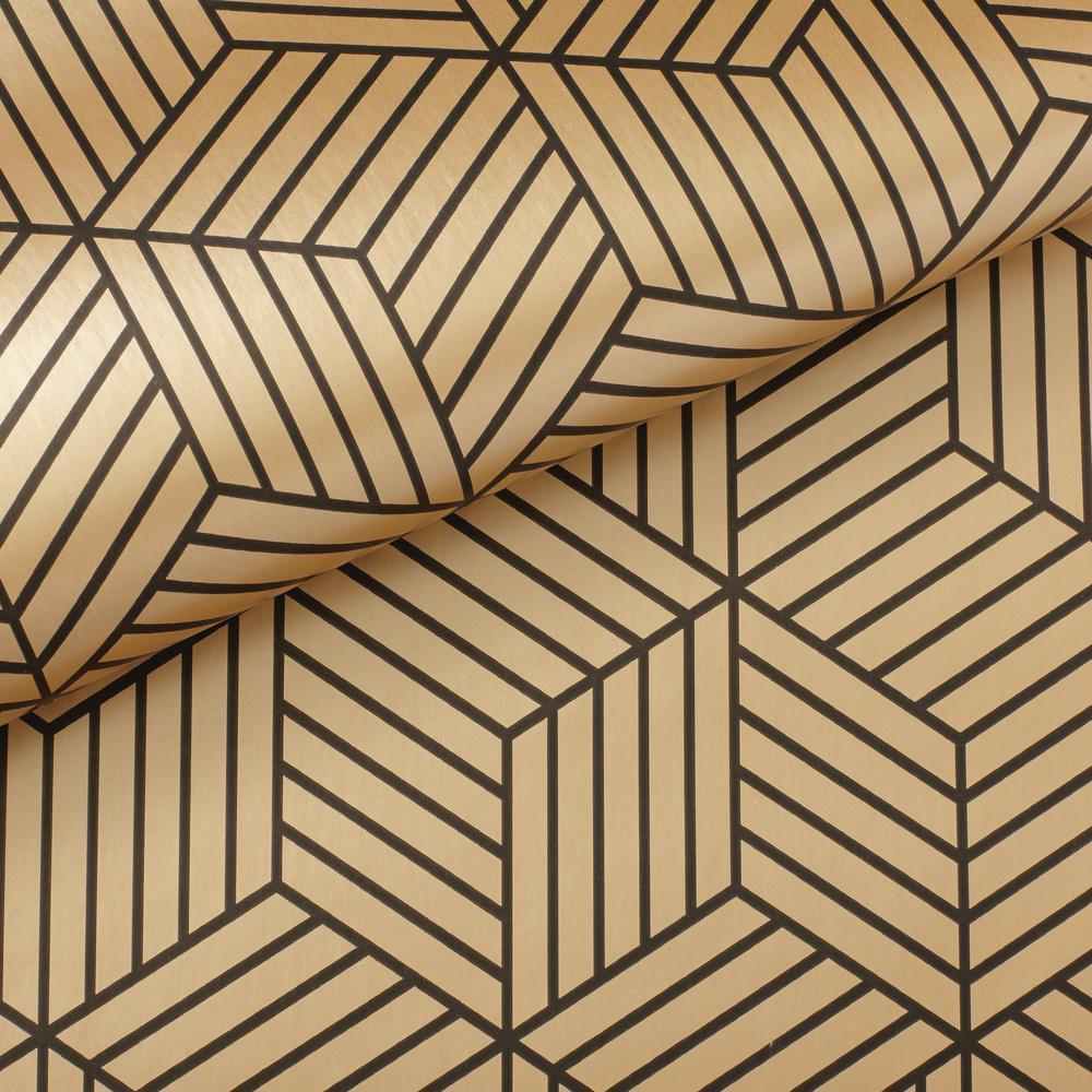 Roommates 2818 Sq Ft Stripped Hexagon Goldblack Peel And Stick