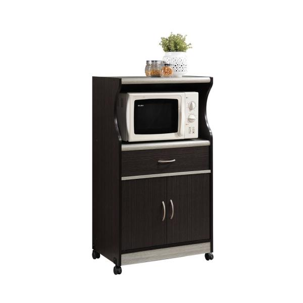 Microwave Cart With Drawer Storage Wheels Shelf Wood for Home Kitchen NEW BEST