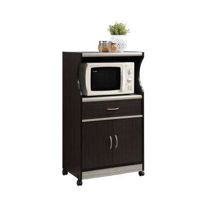 1-Drawer Chocolate Grey Microwave Cart