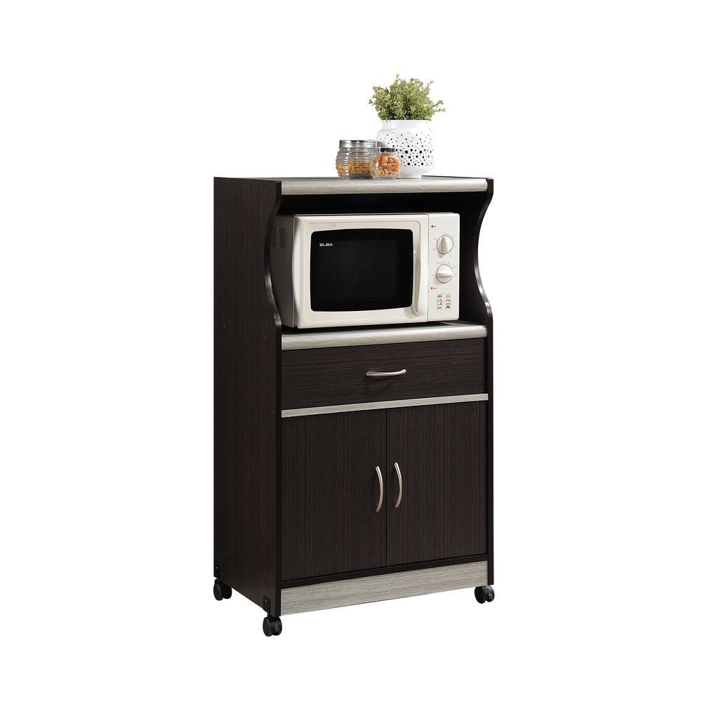 Hodedah 1-Drawer Chocolate Grey Microwave Cart HIK77 CHOC-GREY