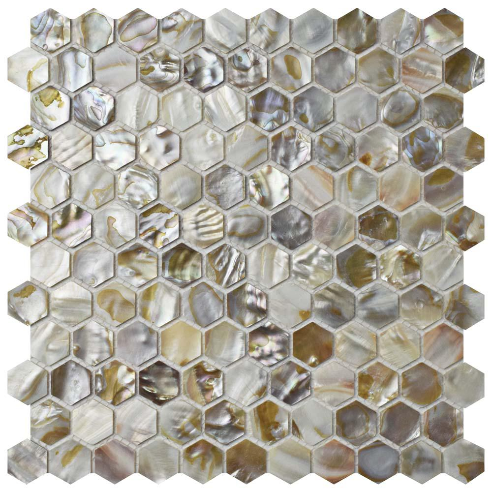 Merola Tile Conchella Hexagon Natural 11-1/2 in. x 11-5/8 in. x 2 mm Natural Seashell Mosaic Tile