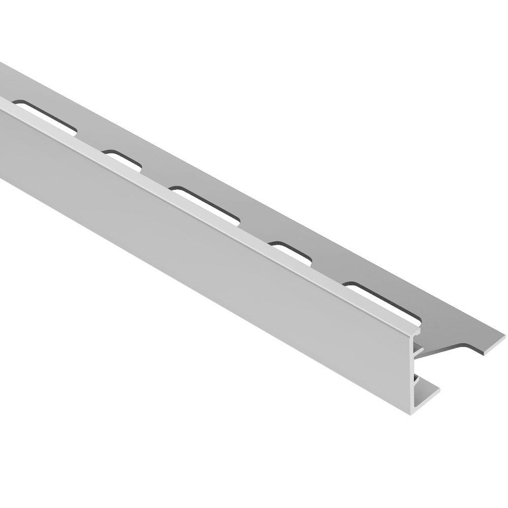 Schluter Schiene Satin Anodized Aluminum 1 in. x 8 ft. 2-1/2 in. Metal L-Angle Tile Edging Trim