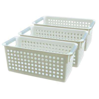 1.33 G White Rectangular Plastic Shelf Organizer Basket with Handles Set of 3