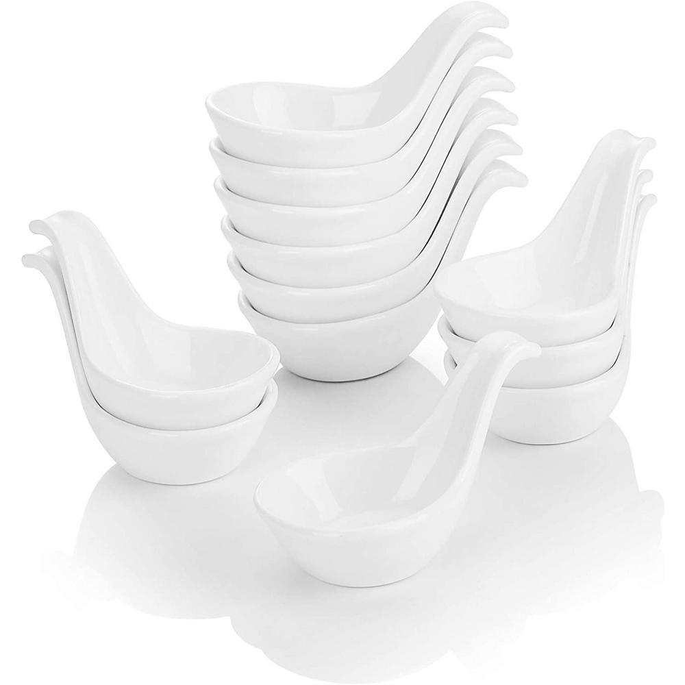 3.75 in. Porcelain White Ramekins Souffle Dishes(Set of 12)