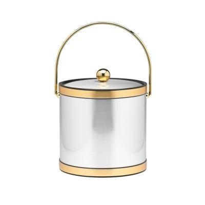 3 Qt. Brushed Chrome and Brass Mylar Ice Bucket with Bale Handle, Bands and Metal Cover