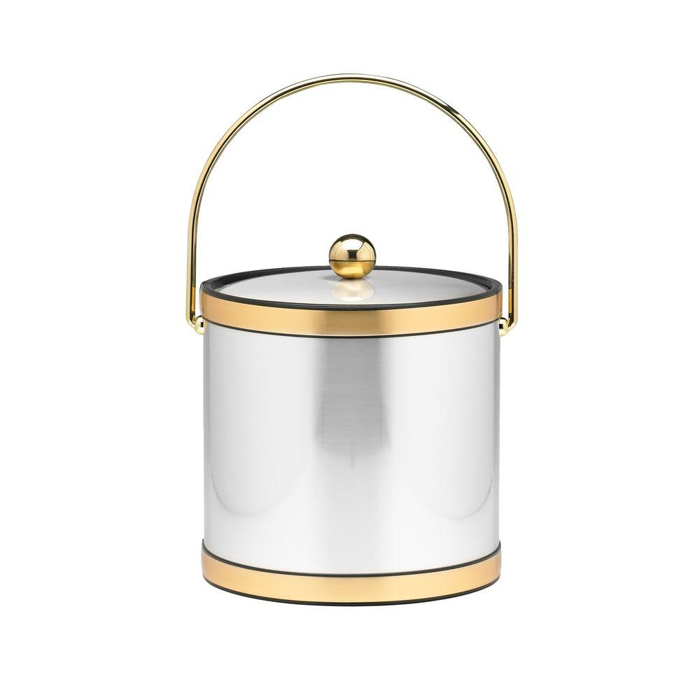 3 Qt. Brushed Chrome and Brass Mylar Ice Bucket with Bale