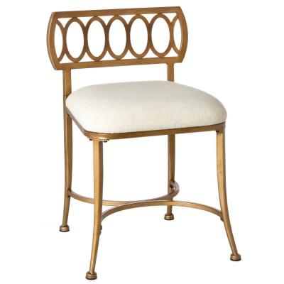 Canal Street Cream and Gold Vanity Stool