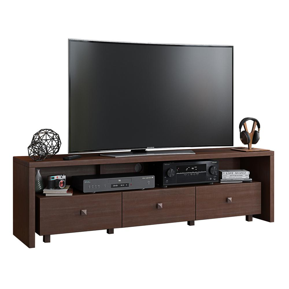 Techni Mobili 75 in. Hickory Particle Board TV Stand with 3 Drawer Fits TVs Up to 65 in. with Cable Management -  RTA-8895-HRY