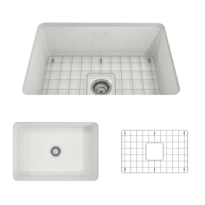 BOCCHI Sotto Undermount Fireclay 27 in. Single Bowl Kitchen Sink with Protective Bottom Grid and Strainer in White