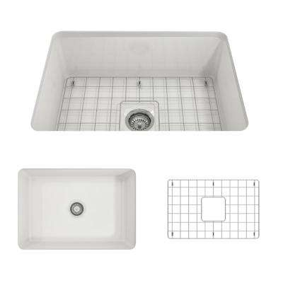 Sotto Undermount Fireclay 27 in. Single Bowl Kitchen Sink with Bottom Grid and Strainer in White