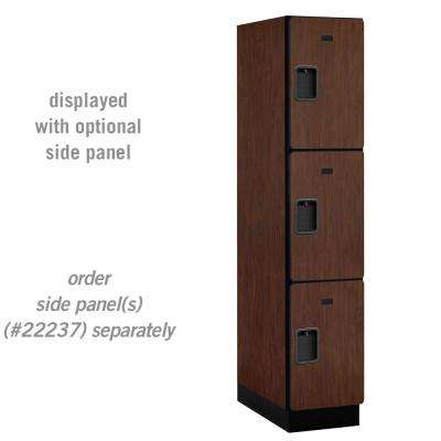 23000 Series Triple-Tier 24 in. D 3-Compartments Extra Wide Designer Particle Board Locker in Mahogany