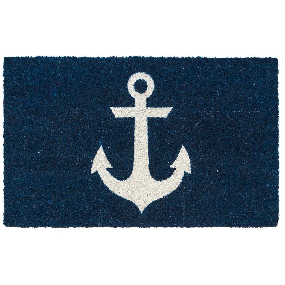 Blue Anchor 17 in. x 28 in. Non-Slip Coir Door Mat
