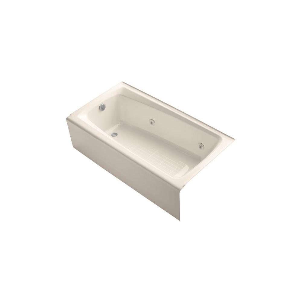 KOHLER Mendota 5 ft. Whirlpool Tub with Left Drain in Innocent Blush-DISCONTINUED