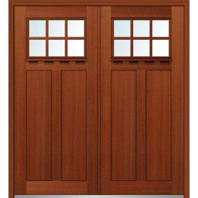 64 in. x 80 in. Shaker Left-Hand Inswing 6-Lite Clear Low-E 2-Panel Stained Fiberglass Fir Prehung Front Door with Shelf