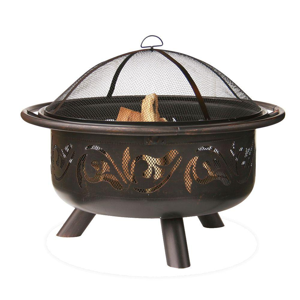Endless Summer 36 in. Diameter Bronze Finish Iron Construction Wood Burning Fire Pit with Swirl Design